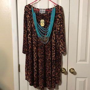 L&B 3/4 sleeve Leopard Dress with pockets - 2XL